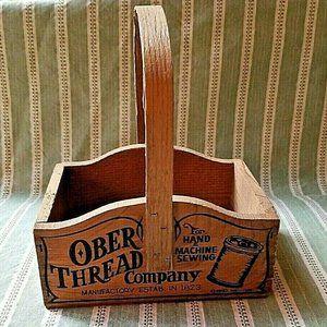 Vintage Ober Thread Wood Sewing Box